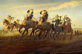 Stagecoach attacked by Indians, Daniel Cavaliere