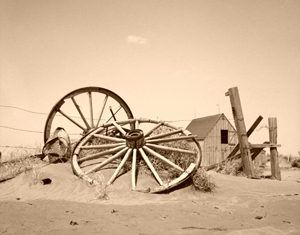 An abandoned farm in Cimarron County, Oklahoma during the dust bowl days
