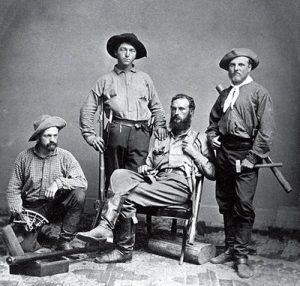 Clarence King (far right), who later became head of the U.S. Geological Survey, and his men helped foil the Great  Diamond Swindle.