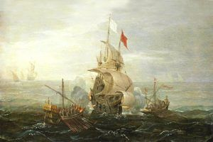 French ship under attack by pirates.