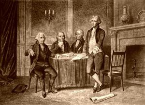Leaders of the Continental Congress, John Adams, Morris, Hamilton, Jefferson, by A. Tholey