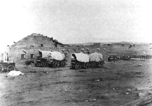 Navaho wagons at the Hubbell Trading Post, 1910