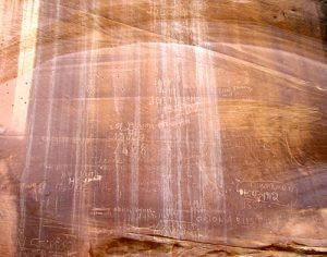 Pioneer Register in Capitol Gorge, Kathy Weiser, April, 2008.