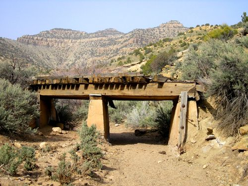 Several of the old railroad bridges remain standing in Sego Canyon,