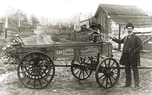 William Galloway and his manure spreader around 1905.