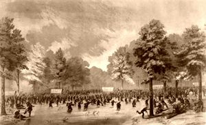 Civil War soldiers moving through the country.