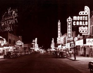 Freemont Street in downtown Las Vegas, Nevada during  the early days