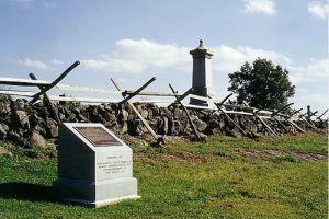 Stone wall at Cemetery Ridge, Gettysburg Battlefield, Pennsylvania