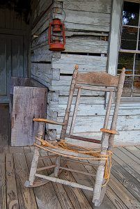A lonely rocking chair in Grand Gulf, Mississippi