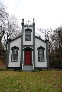 The Sacred Heart Roman Catholic Church at the Grand Gulf Military Parkwas moved from nearby Rodney, Mississippi.