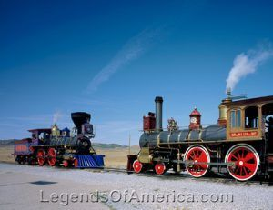 A meeting of the engines at the Golden Spike National Historic Site. Photo by Carol Highsmith