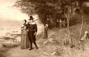 Pilgrims holding bibles