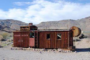 An old railroad boxcar in Rhyolite, Nevada