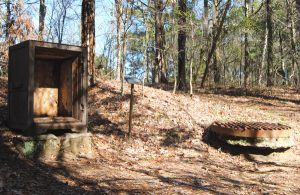 Today, all that's left of Rocky Springs, other than the church and cemetery, are a couple of old safes and a cistern.