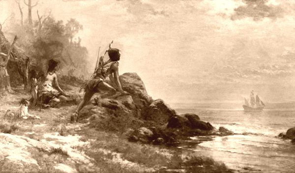 Native Americans watch as Sir Henry Hudson arrives in New York