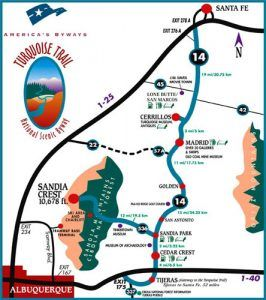 Turquoise Trail National Scenic Byway map courtesy Turquoise Trail Association.