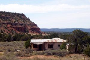A home sits abandoned at Abo, New Mexico against the backdrop of the Salinas Valley.