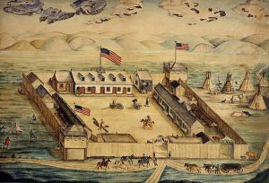 Fort Pierre Chouteau, South Dakota by Frederick Behman, 1855.