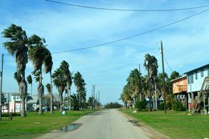 A quiet coastal street in what is left of Indianola, Texas.