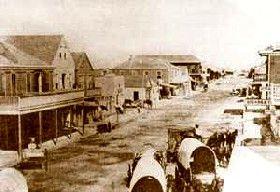 Vintage Indianola, Texas street scene.