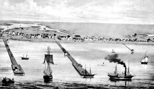 Illustration of Port of Indianola in 1850.