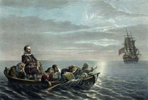 Henry Hudson and some crew members set adrift after mutiny