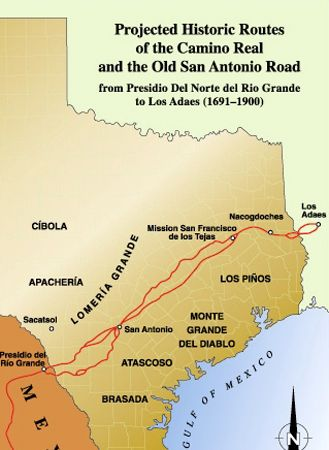 Map Of Texas San Antonio.El Camino Real De Los Tejas Legends Of America