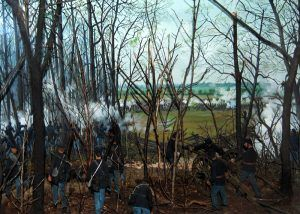 Battle of Shiloh, Tennessee, from 3-D display at the Shiloh Visitor's Center, photo by Kathy Weiser