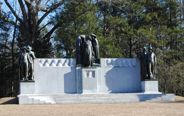A large Confederate monument commemorates the southern soldiers who fought and died at the Battle of Shiloh.