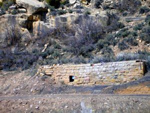 Various low walls and foundations dot the entire length of Spring Canyon