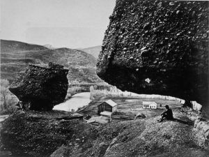Hanging Rock at Echo City, Utah by Andrew Russell, 1868
