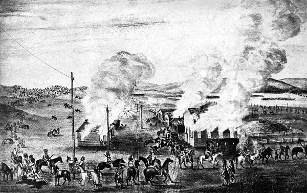 Julesburg, Colorado is burned by Indians