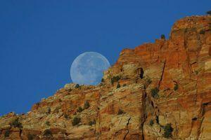 Moon rising over Zion National Park, Utah, John Sullivan, November, 2003.