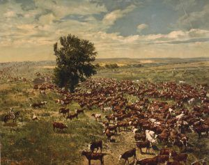 Cattle ranch in the Old West