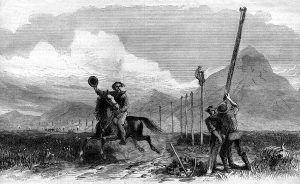 The Pony Expresswas running while the telegraph lines were  being built. This drawing by George M. Ottinger, appeared  in Harper's Weekly, 1867.