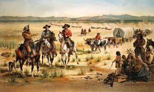 A wagon train and Indians