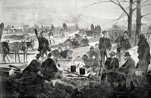 Men in a Wagon Train