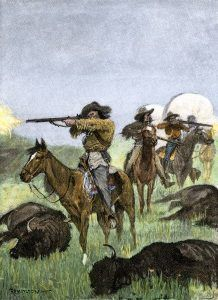 Hunting buffalo to feed a wagon train of pioneers