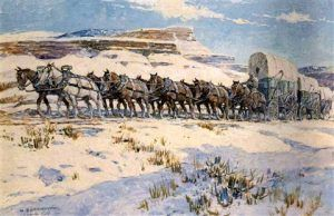 Wagon train in winter by Nick Eggenhofer
