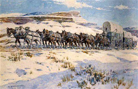 Wagon train in winter by Nick Eggenhofer