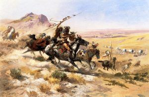 Indian attack on a wagon train by Charles Marion Russell