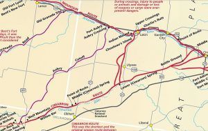 Aubry Cut-off of the Santa Fe Trail Map