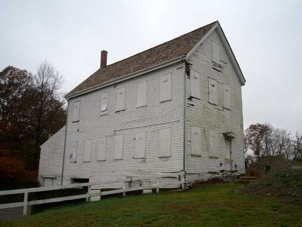 The Print Shop, constructed in about 1890, is the last remaining historic building at Brook Farm. The building is not associated with the Transcendentalist utopian community that briefly flourished on the property in the mid-19th century. It was built by the Lutheran Church, which operated the Martin Luther Orphan's Home on the property from 1871 to 1944. Photo courtesy Wikipedia.