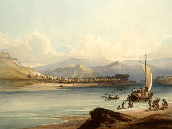 Camp of the Gros Ventre on the Upper Missouri River by Karl Bodmer, 1832