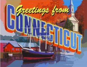 Greetings from Connecticut Postcard. Available at Legends' General Store.