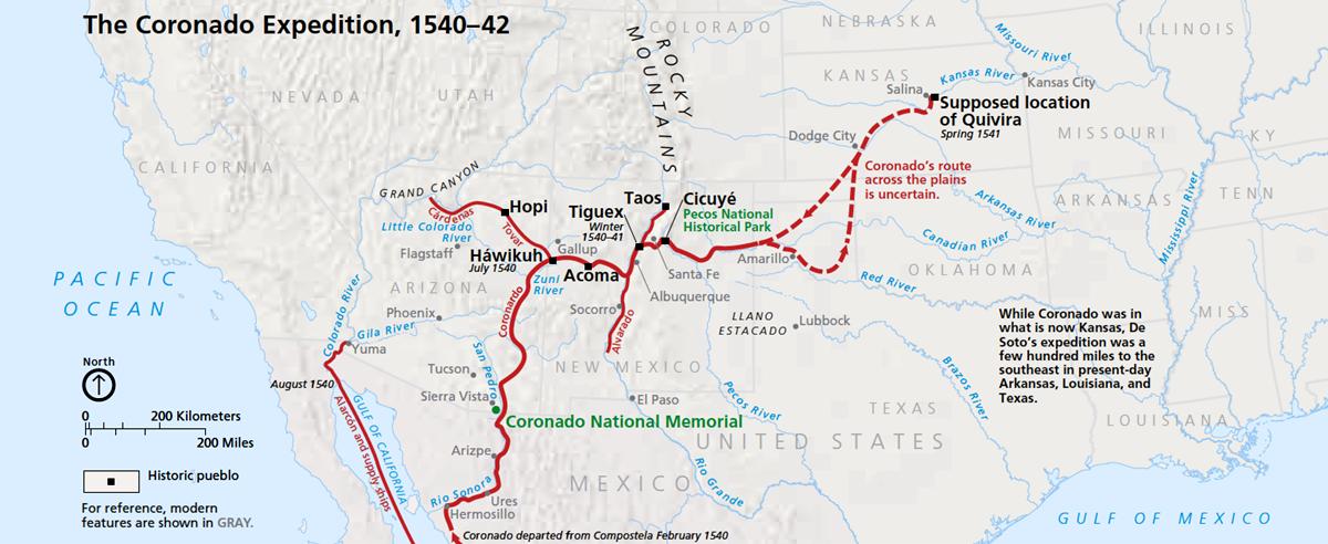 Coranado's Expedition Route