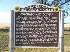Kansas marker giving brief history of Coronado's travels to the area in 1541 located along US Hwy 56 west of Lyons, Kansas.