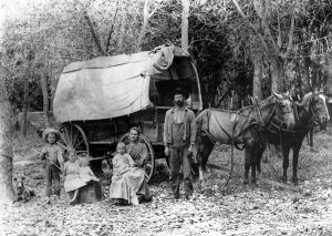 Covered wagon in Johnson County, Kansas