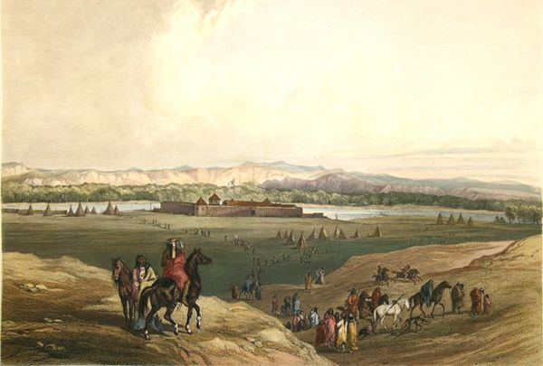 Fort Union on the Missouri River by Karl Bodmer