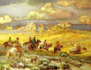Indians ready to attack wagon train